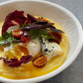 Polenta with Winter Salad, Poached Egg, and Blue Cheese