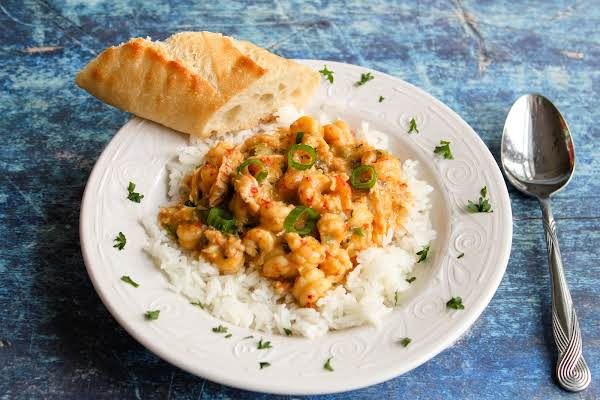 Crawfish Etouffee Over Rice.