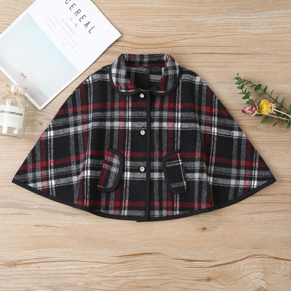 Toddler Girl Black Red Plaid Batwing Button Coat