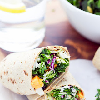 Sweet Potato Kale Salad Wraps