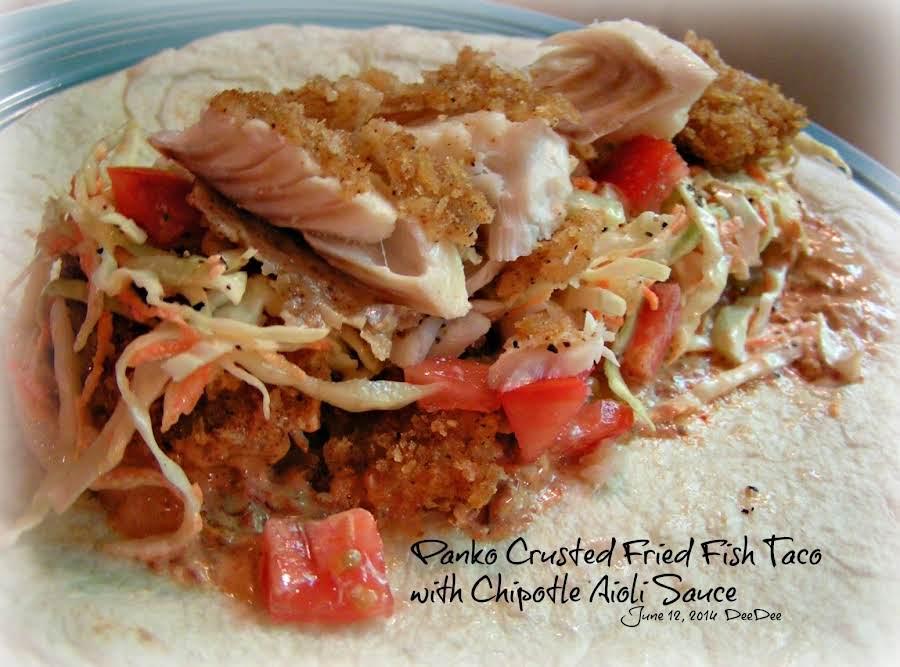 Fried fish taco with chipotle aioli sauce recipe just a for Fried fish taco recipe