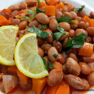 Barbunya Pilaki; Borlotti (Cranberry) Beans Cooked with Vegetables.