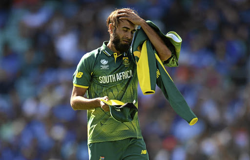 Oh no, not again: Imran Tahir reacts  during the ICC Champions Trophy match between India and SA. Picture: GETTY IMAGES/PHILIP BROWN