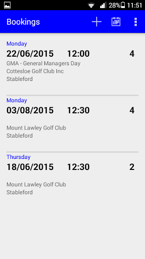 Golf Booking and Fixtures