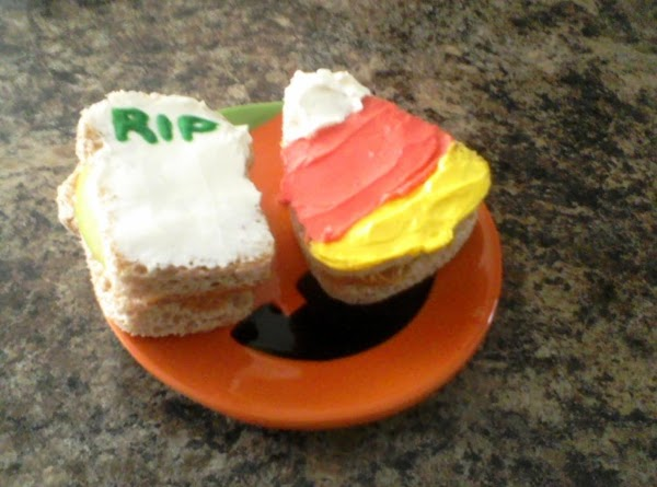 On the tombstone sammie spread white cream cheese and pipe RIP on the top...
