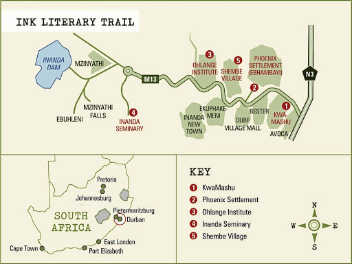 Literary trail map.