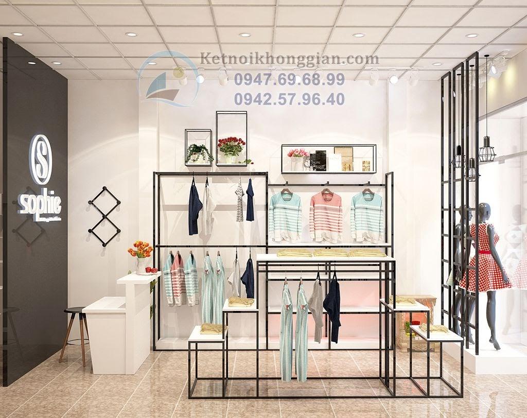 kiến trúc sư thiết kế shop thời trang gọn gàng
