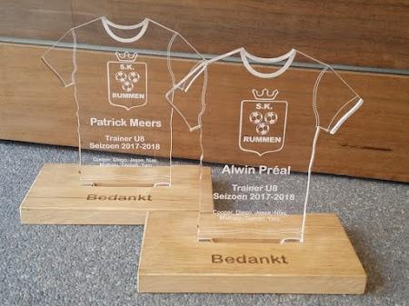 Kunststof - trofee voor voetbaltrainer