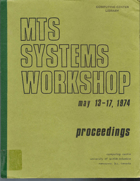 Photo: Cover from the Proceedings from the first MTS Workshop held at UBC in 1974