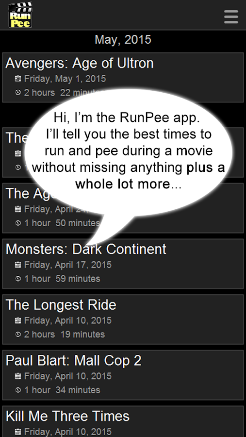 RunPee.- screenshot