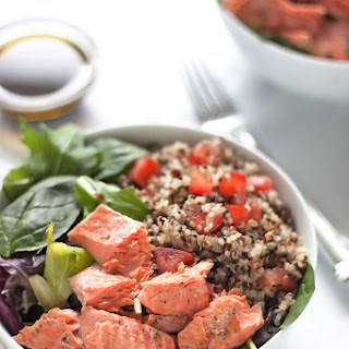 Salmon Quinoa Salad with Balsamic Olive Oil Dressing.
