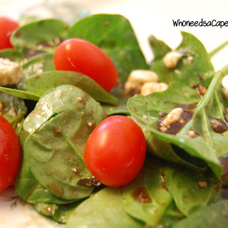 Spinach Salad with Honey Balsamic Dressing.