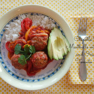 Chipotle Spiced Meatballs with Peppers and Onions in Tomato Sauce (Paleo, Gluten-free, Egg-free, Dairy-free).