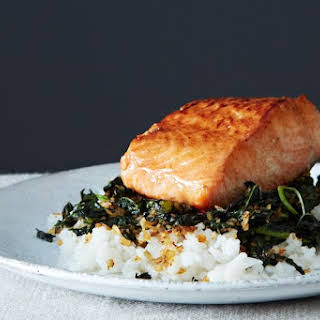 Crispy Coconut Kale with Roasted Salmon and Coconut Rice.