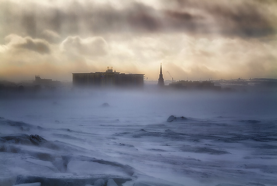 Snowstorm in Rimouski by Gino Caron - Landscapes Weather