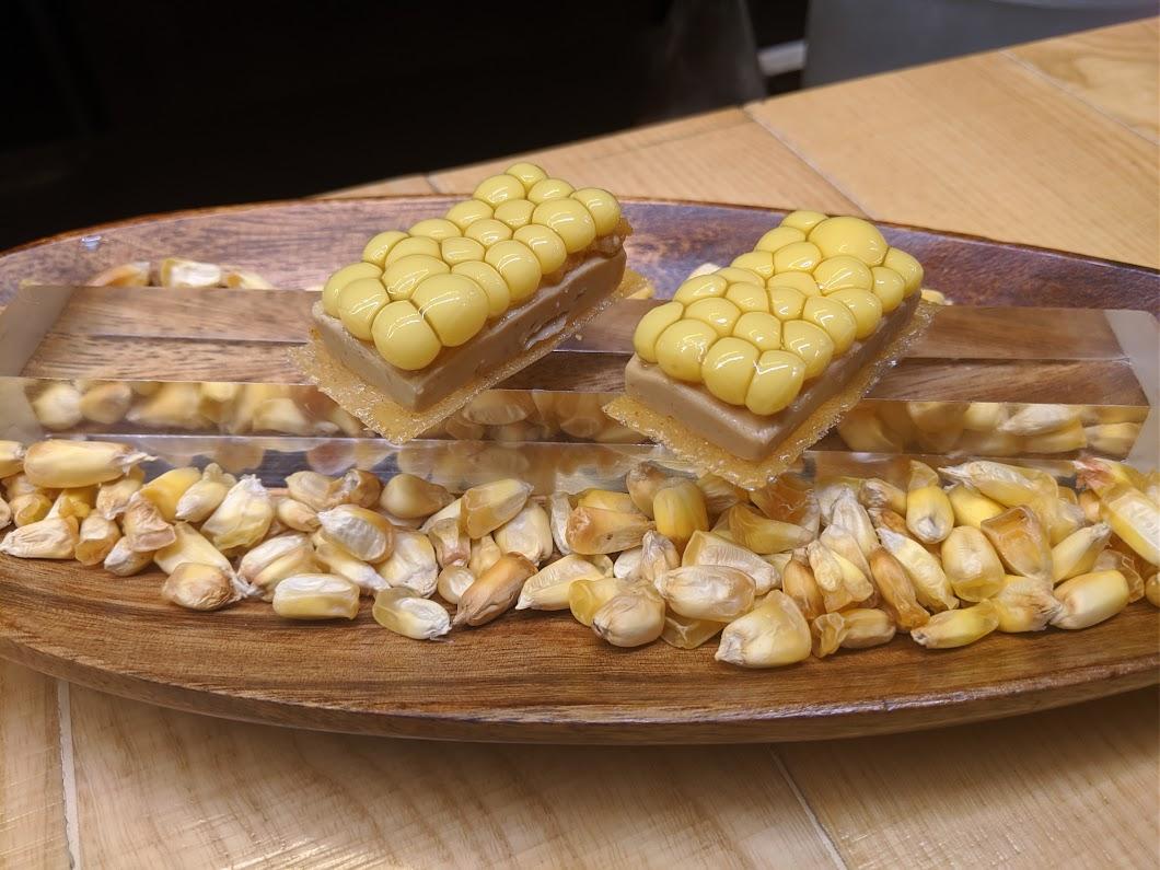 Sweet corn and fois gras dish at Disfrutar
