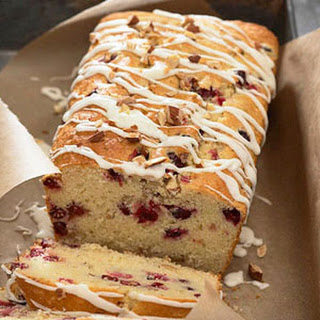 Almond-Cranberry Bread with White Chocolate Glaze