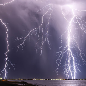 San Remo Super Strikes by Steve Brooks - Landscapes Weather ( water, lightning, perth, strikes, weather, ocean, beach, thor, storm, western australia, mandurah )