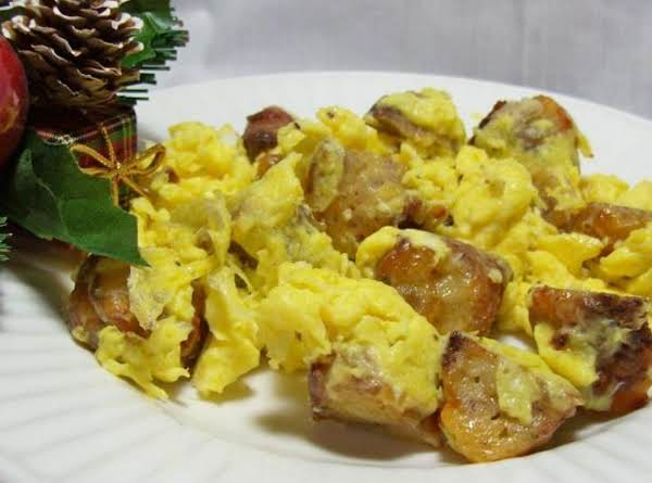 Sausage Balls And Eggs Breakfast Scramble For One