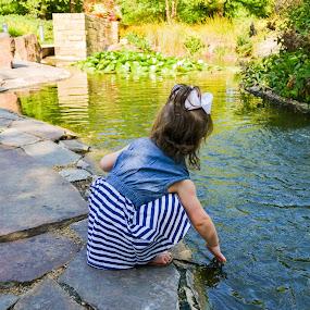 Gardens by Jessica Simmons - Babies & Children Child Portraits ( water, gardens, children, stripes, portraits,  )