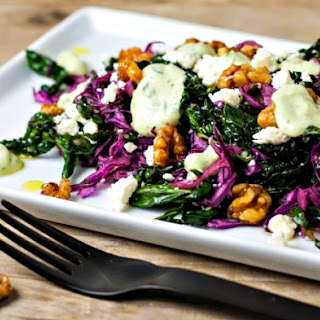 Red Cabbage Black Kale Salad with Maple Walnuts and Creamy Avocado Dressing