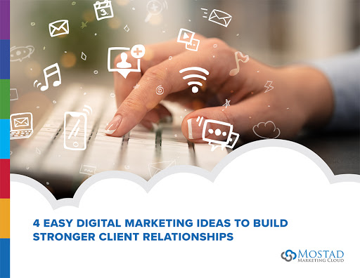 Cover of 4 Easy Digital Marketing Hacks to Build Stronger Client Relationships with hand typing on keyboard