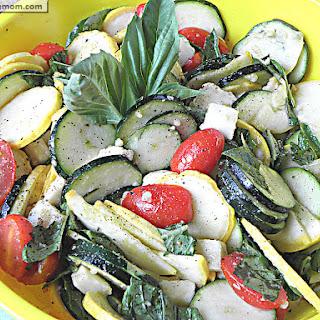 Raw Zucchini Squash Caprese Salad