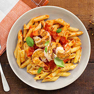 Spicy Tomato Sauce & Grilled Shrimp on Penne