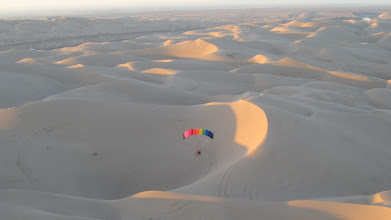 Photo: Bob on early morning flight over southern California dunes
