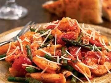 Shrimp Penne Pasta with Artichoke or Asparagus