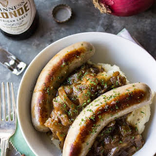 Bangers & Mash with Guinness Onion Gravy.