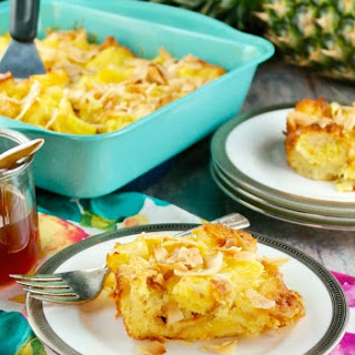 Pineapple Bread Pudding with Pineapple Rum Sauce.