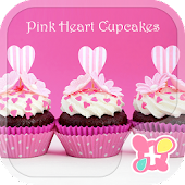 Cute Theme Pink Heart Cupcakes