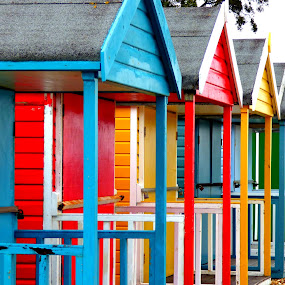 beach huts by Nick Parker - Buildings & Architecture Other Exteriors ( huts, coloured, bright, beach,  )