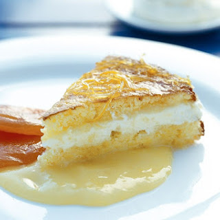 Semolina Cake With Ricotta Cream And Lemon Syrup.