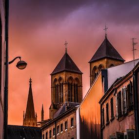 Metz sunset by Oleksii Liebiediev - City,  Street & Park  Skylines ( elsas, metz, sunset, france, architecture, mez )