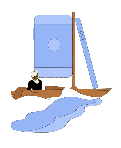 Person on a sailboat, with a phone-shaped sail.