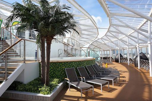 The spacious, peaceful three-story Solarium on decks 14-16 of Harmony of the Seas.