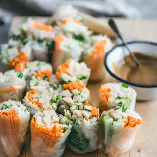 Chicken Spring Rolls with Peanut Sauce.