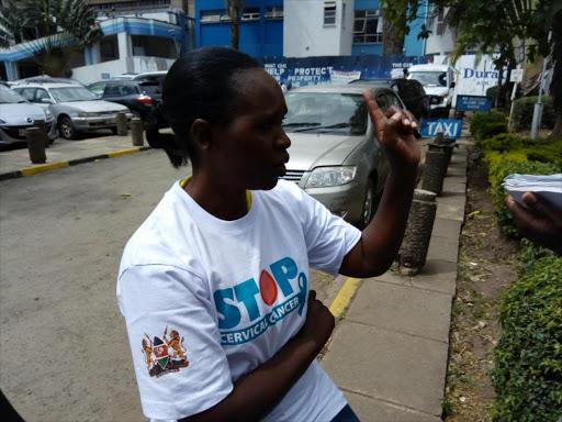 Cervical cancer survivor Catherine Njeri during the launch of a cancer awareness week at Kenyatta National Hospital recently