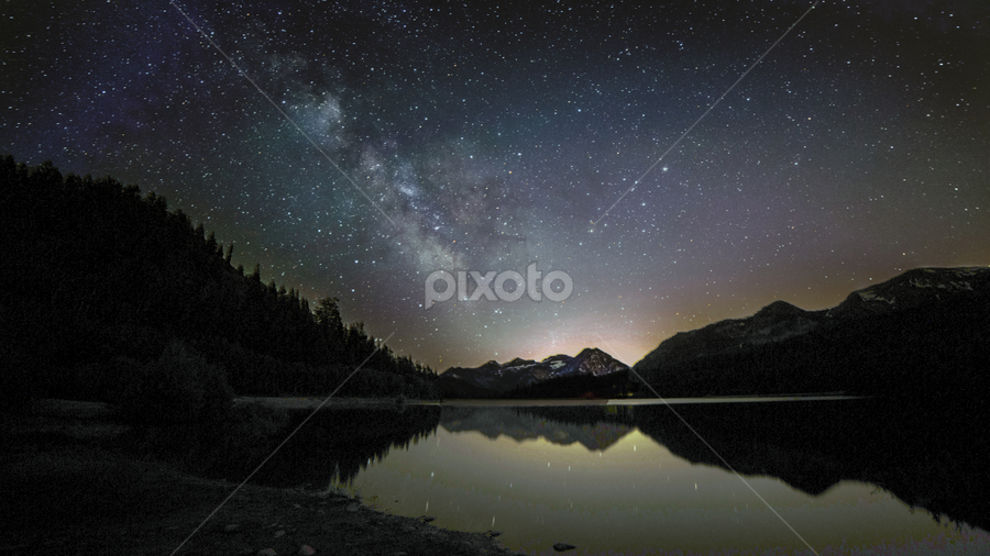 Pouring Stars into Silver Lake by Bill Higginson - Landscapes Starscapes ( mountain, stars, night, lake, landscape, starscape, milky way,  )
