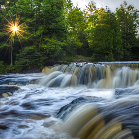 Bond Falls by Brad Bellisle - Landscapes Waterscapes ( sunrise, sunburst, waterfall, bond falls, long exposure,  )