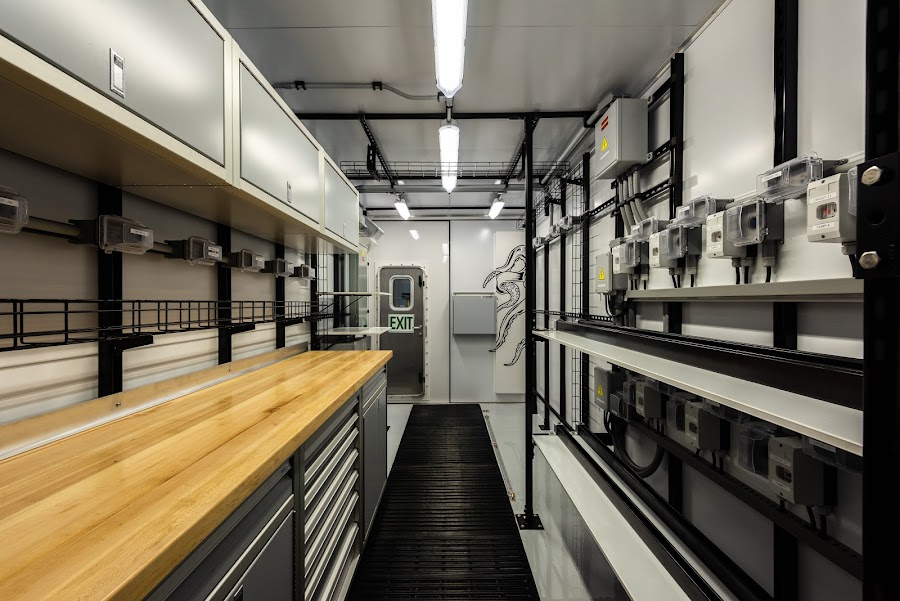 An interior shot of the finished Shipping Container Lab (Photo courtesy of Steel Giraffe)