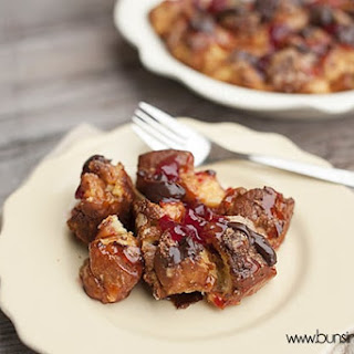 Hot Fudge Covered Strawberry Donut Pudding.