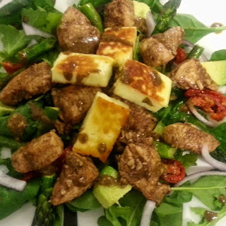 Warm Balsamic Chicken and Haloumi Salad