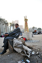 Photo: A 'V' for victory monument recently erected in Tahrir Square.