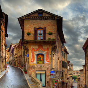 Long and Winding Road by Darin Williams - City,  Street & Park  Markets & Shops ( street, st. frances, cobble stone, italy, assisi,  )
