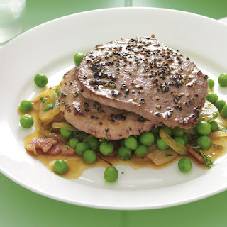 Pepper Minute Steak with Mint and Bacon Peas