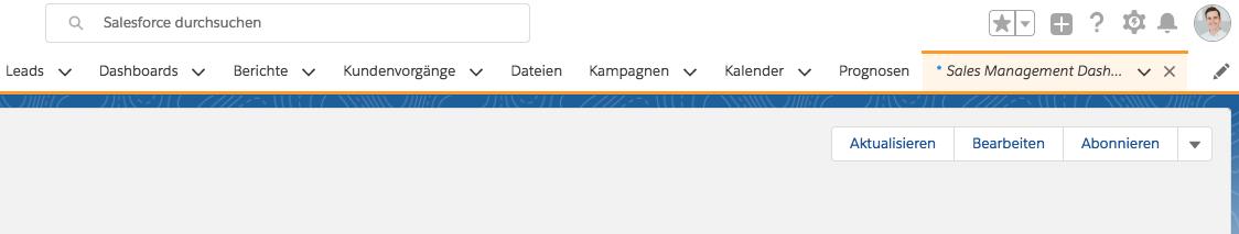 Salesforce Dashboard als Registerkarte sichtbar