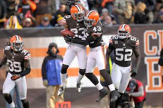 Photo: Joe Haden and T.J. Ward react after Haden intercepted a pass. (Joshua Gunter, The Plain Dealer)